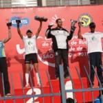 Podium dos vencedores da corrida masculida