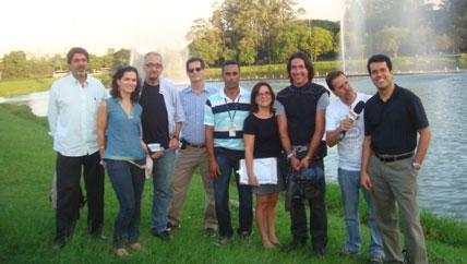 Equipe durante a filmagem